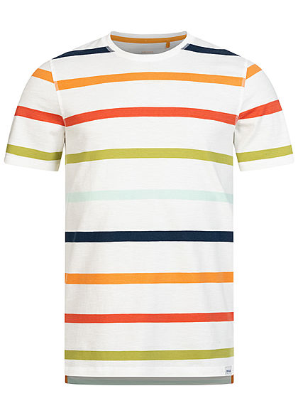 ONLY & SONS Herren T-Shirt Multicolor Streifen Muster cloud dancer weiss mc - Art.-Nr.: 20073686