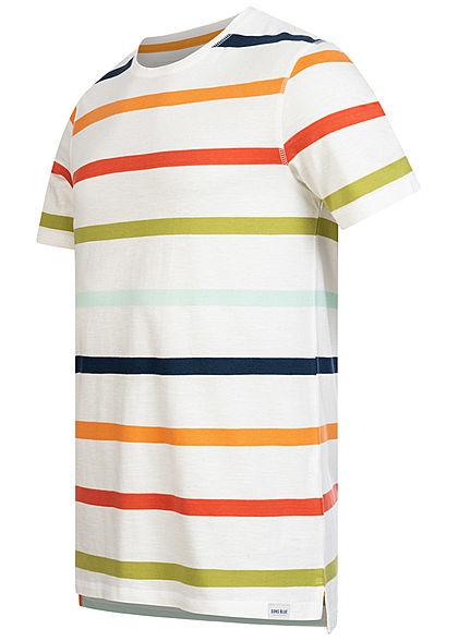 ONLY & SONS Herren T-Shirt Multicolor Streifen Muster cloud dancer weiss mc