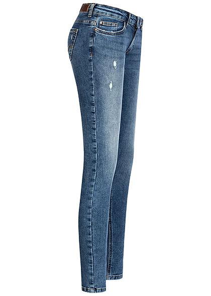 ONLY Damen Skinny Jeans Hose Super Low Waist 5-Pockets Crash Optik dunkel blau denim