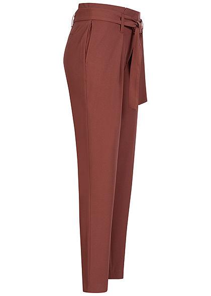 ONLY Damen NOOS Ankle Paper Bag Stoffhose 2-Pockets mit Bindegürtel sable bordeaux rot