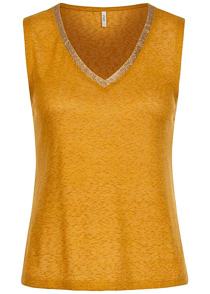 ONLY Damen V-Neck Viskose Top mit Lurexstreifen chai tea gelb gold - Art.-Nr.: 20073704