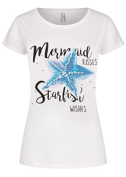 Sublevel Damen T-Shirt Mermaid Starfish Print Deko Perlen weiss