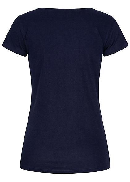 Sublevel Damen T-Shirt Mermaid Starfish Print Deko Perlen dunkel navy blau