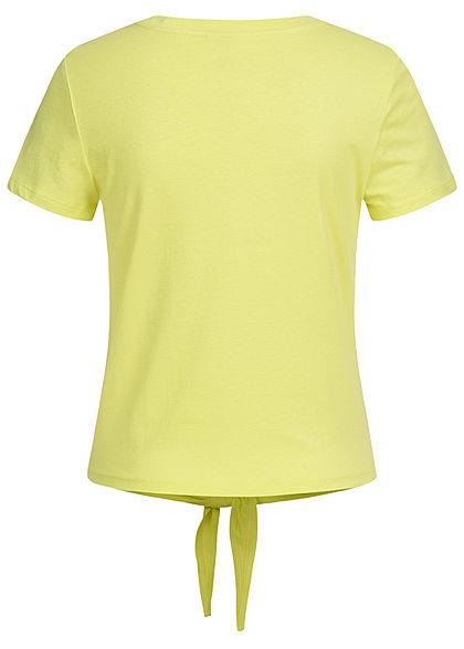ONLY Damen T-Shirt Limetten Patch mit Bindedetail vorne sunny lime gelb grün