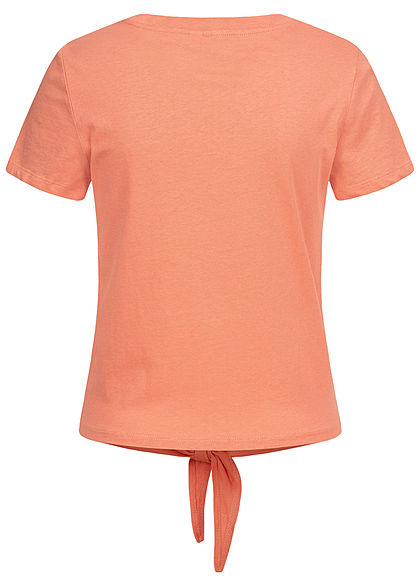 ONLY Damen T-Shirt Pfirsich Patch mit Bindedetail vorne terra cotta rose