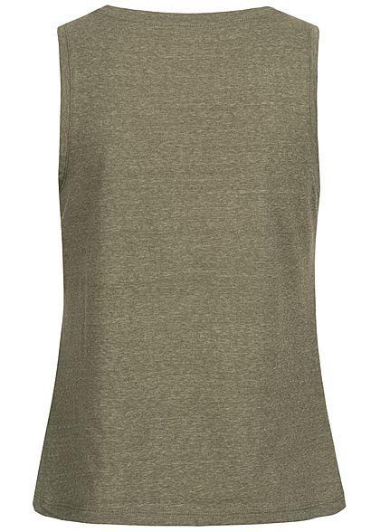 ONLY Damen V-Neck Top mit Strassstein Applikation am Ausschnitt kalamata oliv grün