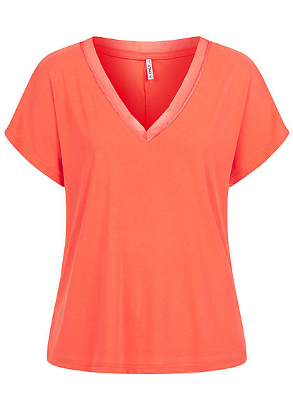 ONLY Damen Oversized V-Neck Tencell T-Shirt Mesheinsatz am Kragen deep sea coral pink