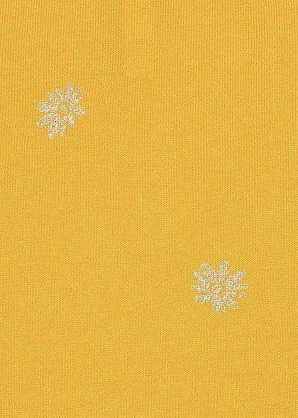 ONLY Damen V-Neck T-Shirt Glitzer Blumen Bindedetail Deko Knopfleiste senf gelb