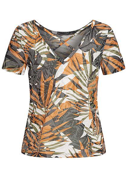 ONLY Damen Burnout T-Shirt Rückenausschnitt Tropical Good Vibes Print cloud d. weiss mc