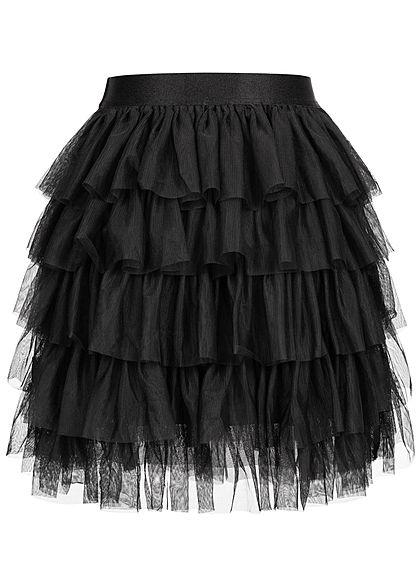 ONLY Damen Mini Tüllrock mehrere Lagen schwarz