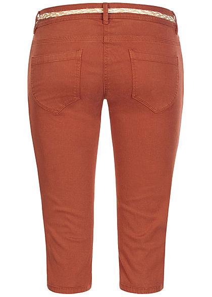 Tom Tailor Damen Capri Jeans Hose 5-Pockets Flechtgürtel Slim Fit goji orange denim
