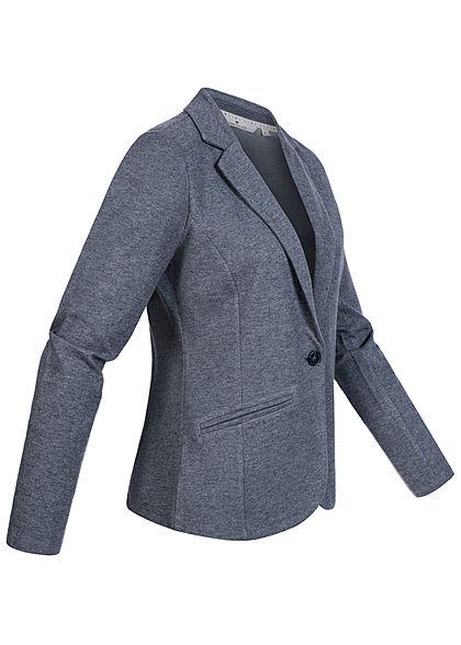 Tom Tailor Damen Slim Fit Cosy Blazer 2 Deko Taschen vorne sky captain blau melange