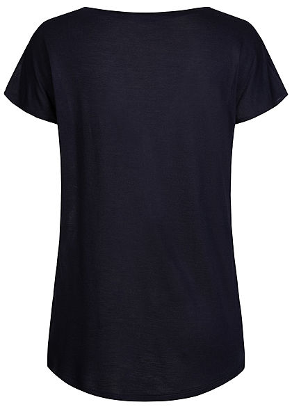 Zabaione Damen Viskose Blusen Shirt Floraler Print vorne Rückseite uni navy blau mc