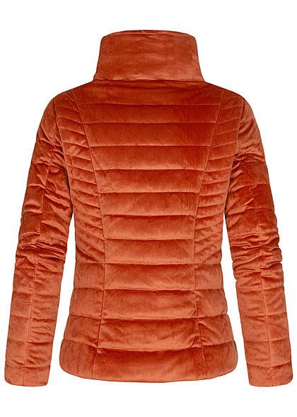 Zabaione Damen Steppjacke Kunstleder Velour Optik 2-Pockets copper braun