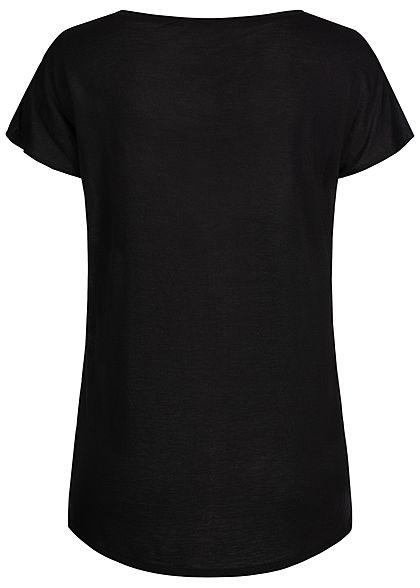Zabaione Damen Viskose Blusen Shirt Floraler Print vorne Rückseite uni schwarz multic.