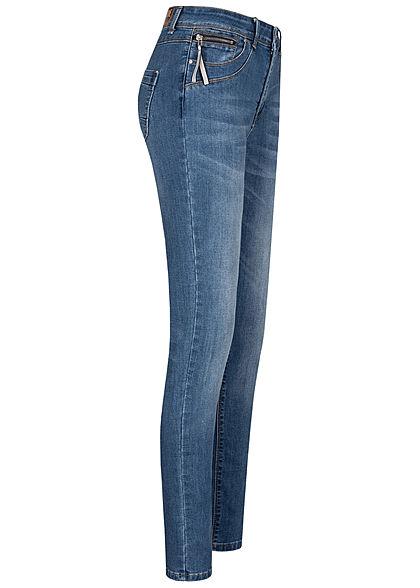 Zabaione Damen Skinny Jeans Hose 5-Pockets Zipper seitlich medium blau denim