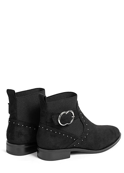 ONLY Damen Schuh kurze Buckle Boots Schnallenstiefel Deko Steinchen schwarz