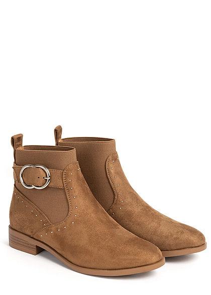 ONLY Damen Schuh kurze Buckle Boots Schnallenstiefel Deko Steinchen camel braun