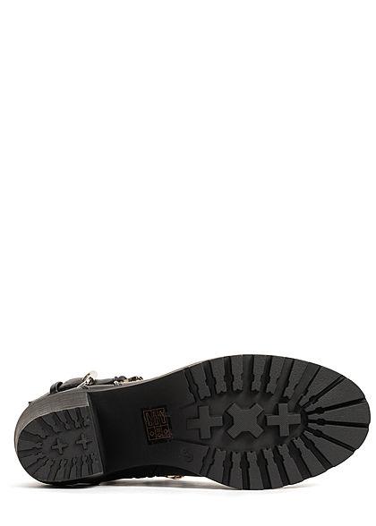 ONLY Damen Schuh Kunstleder Chain Boots Stiefelette Kette & Zipper schwarz