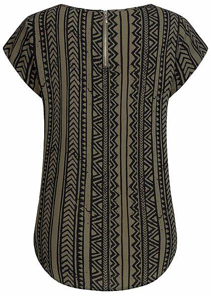 ONLY Damen NOOS Blusen Shirt Zipper hinten Azteken Print kalamata oliv grün