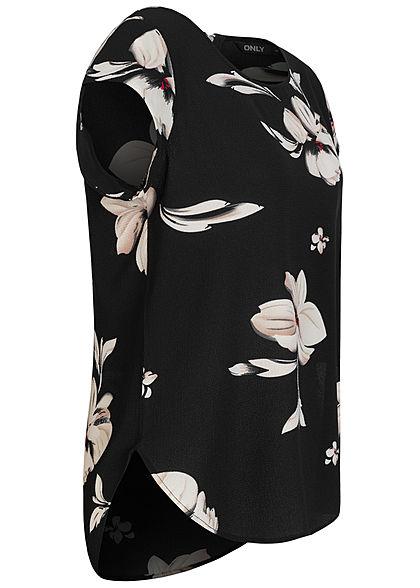 ONLY Damen NOOS Blusen Shirt Zipper hinten Floraler Print schwarz beige