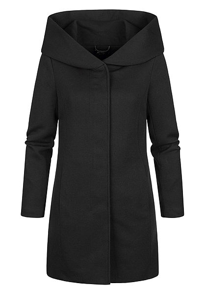 ONLY Damen NOOS Coatigan Jacke 2-Pockets Kapuze schwarz