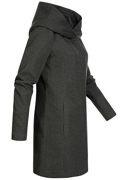 ONLY Damen NOOS Coatigan Jacke 2-Pockets Kapuze rosin dunkel grün