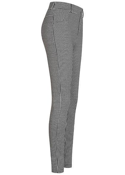 ONLY Damen Jeggings Leggings Hahnentritt Muster 2 Deko Taschen schwarz weiss