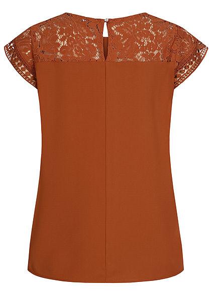 ONLY Damen Blusen Top mit Häkelbesatz Materialmix ginger bread braun