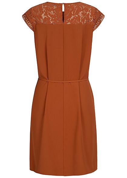 ONLY Damen Mini Kleid Häkelbesatz Materialmix inkl. Bindeschnur ginger bread braun