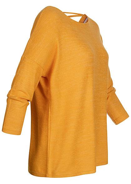 ONLY Damen 3/4 Arm Soft-Touch Pullover mit Rückenausschnitt golden gelb melange