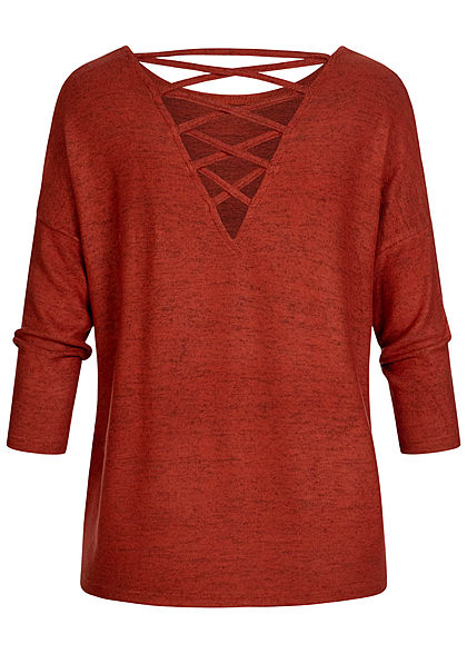 ONLY Damen 3/4 Arm Soft-Touch Pullover mit Rückenausschnitt ochre rot melange
