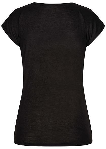 Seventyseven Lifestyle Damen Kurzarm T-Shirt Think Happy Herz Pailletten schwarz kupfer