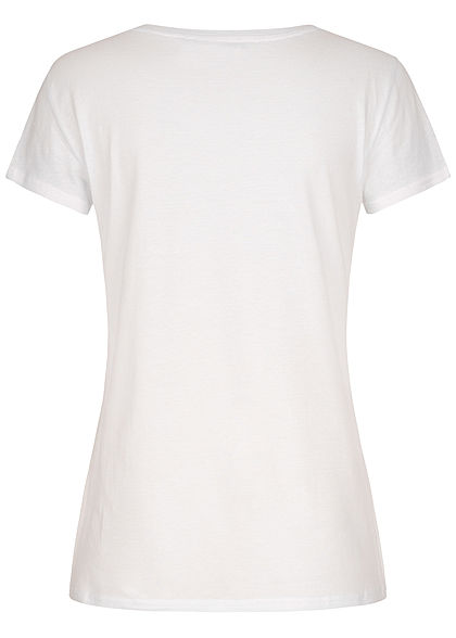 Hailys Damen T-Shirt Forever Beautiful  Print weiss rosa