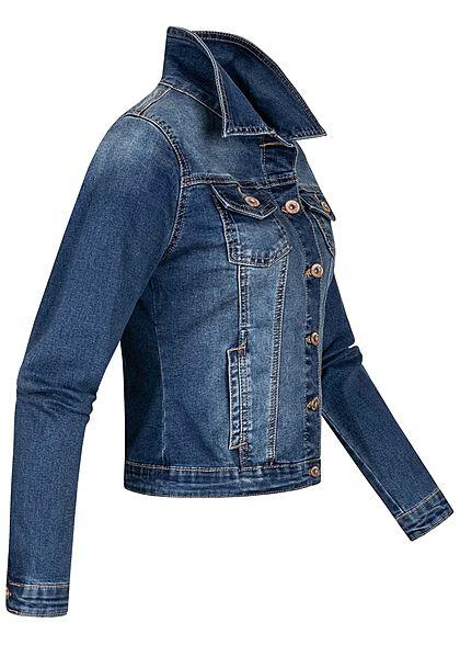 Hailys Damen kurze Jeans Jacke 2-Pockets 2 Brusttaschen Knopfleiste medium blau denim