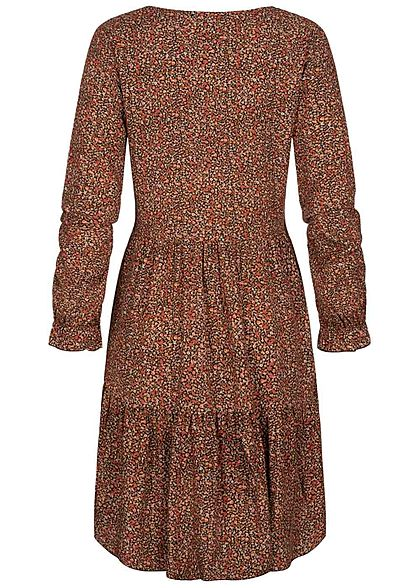 Hailys Damen V-Neck Viskose Puffer Kleid Blumen Print copper braun multicolor