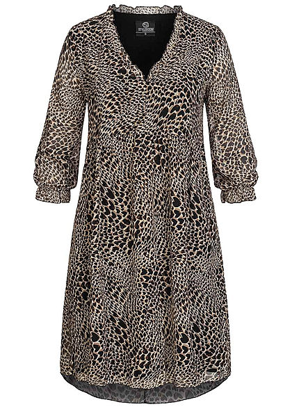 Styleboom Fashion Damen 3/4 Arm V-Neck Puffer Kleid Leo Print braun schwarz
