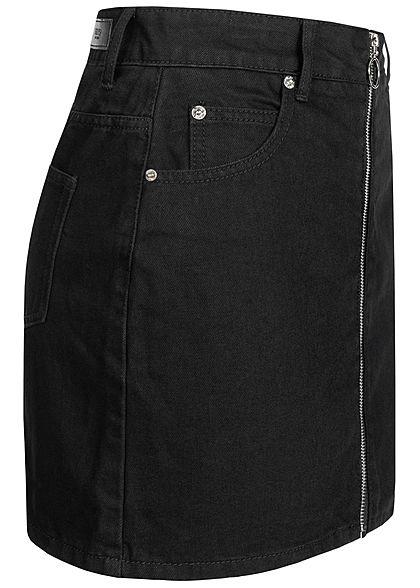 Hailys Damen Mini Jeans Rock Zipper vorne solid schwarz