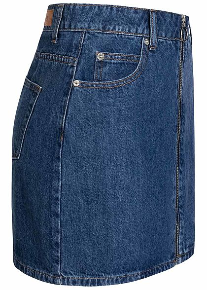 Hailys Damen Mini Jeans Rock Zipper vorne medium blau denim