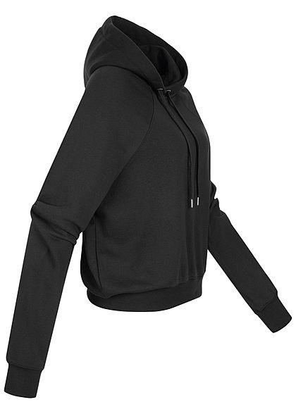Hailys Damen Basic Hoodie mit Kapuze kurzer Schnitt schwarz