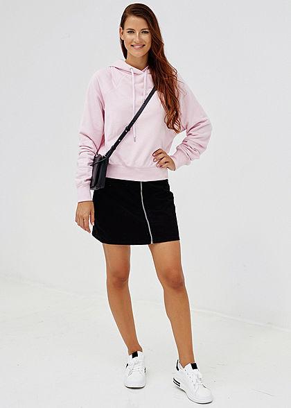 Hailys Damen Basic Hoodie mit Kapuze kurzer Schnitt rosa