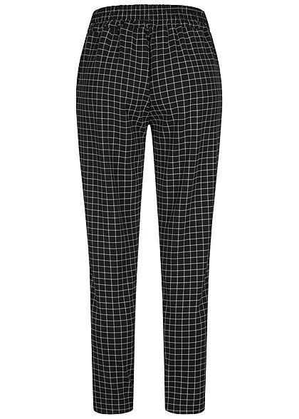 Hailys Damen Stoffhose Karo Muster 2-Pockets Bindedetail vorne schwarz weiss