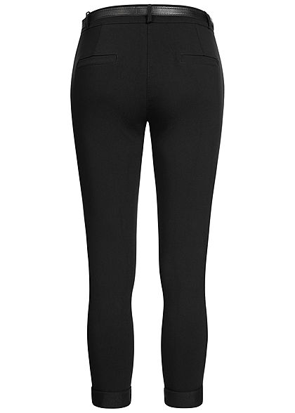 Hailys Damen Stoffhose inkl. Kunstleder Gürtel 2-Pockets Beinumschlag schwarz