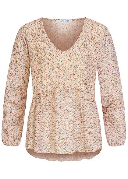 Hailys Damen V-Neck Chiffon Blusen Shirt Allover Print beige multicolor