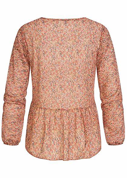 Hailys Damen V-Neck Chiffon Blusen Shirt Blumen Print rosewood rosa multicolor
