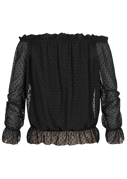 Hailys Damen Off-Shoulder Mesh Chiffon Shirt Punkte Muster 2-lagig schwarz