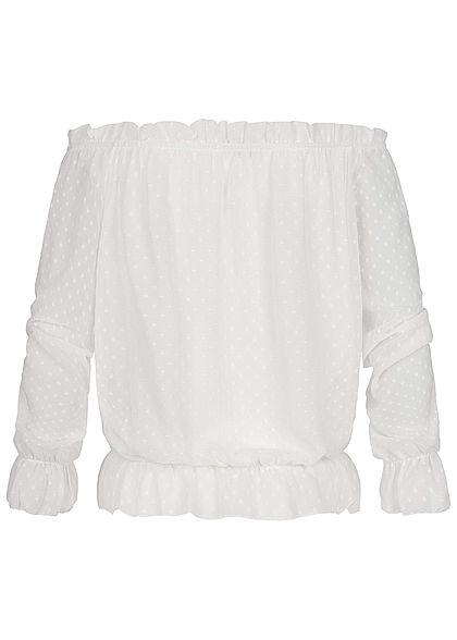 Hailys Damen Off-Shoulder Mesh Chiffon Shirt Punkte Muster 2-lagig off weiss