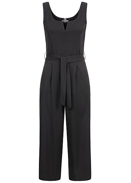 Styleboom Fashion Damen V-Neck Jumpsuit 2-Pockets inkl. Bindegürtel schwarz - Art.-Nr.: 20076222