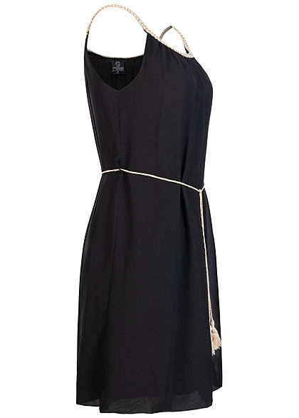 Styleboom Fashion Damen Mini Kleid Flechtträger inkl. Bindegürtel schwarz