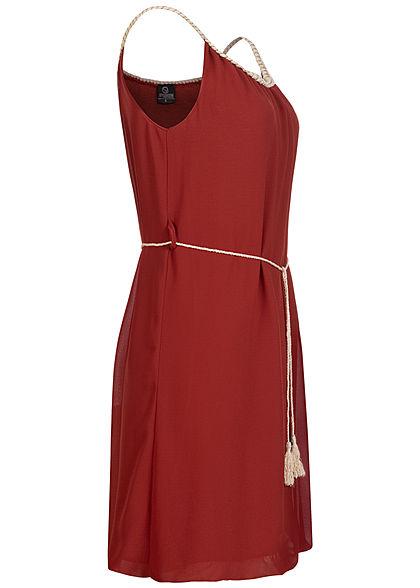 Styleboom Fashion Damen Mini Kleid Flechtträger inkl. Bindegürtel rost braun